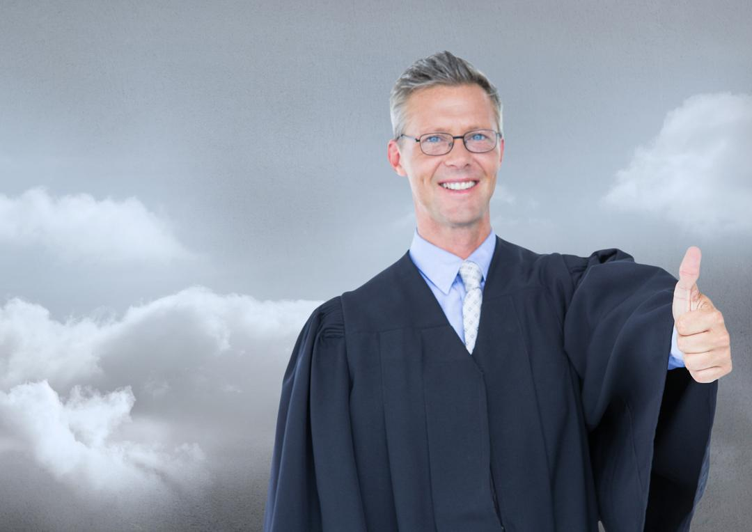 Judge in front of sky clouds