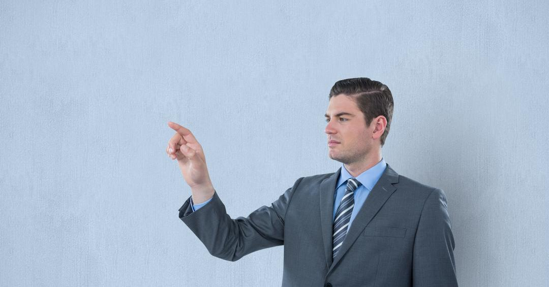 Digital composite of Confident businessman gesturing over blue background