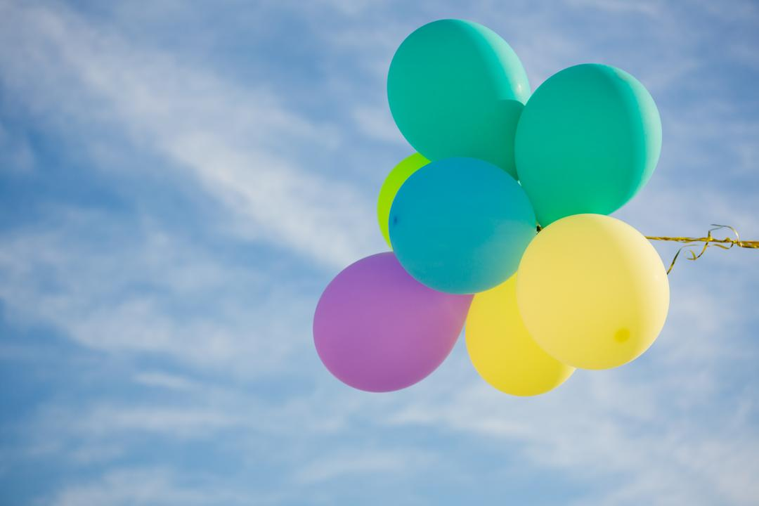 Pastel-coloured balloons