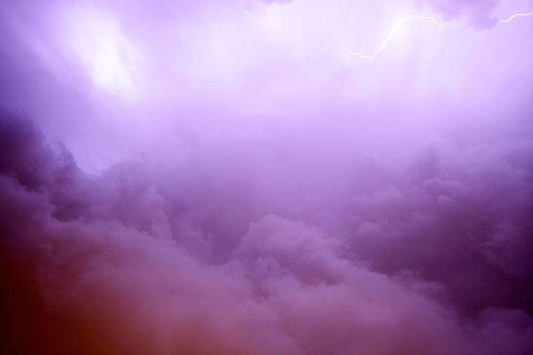 Lightning purple sky