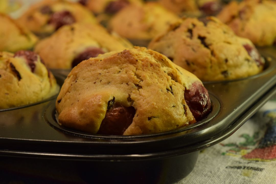 Baked baked goods cherry muffin delicious