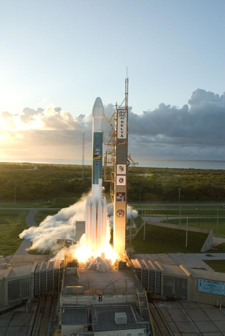 KENNEDY SPACE CENTER, FLA. -- Just after sunrise, the Delta II rocket carrying NASA's Dawn spacecraft rose from its launch pad to begin its 1.7-billion-mile journey through the inner solar system to study a pair of asteroids.  Liftoff was at 7:34 a.m. EDT from Pad 17-B at Cape Canaveral Air Force Station.  Dawn is the ninth mission in NASA's Discovery Program. The spacecraft will be the first to orbit two planetary bodies, asteroid Vesta and dwarf planet Ceres,  during a single mission. Vesta and Ceres lie in the asteroid belt between Mars and Jupiter. It is also NASA's first purely scientific mission powered by three solar electric ion propulsion engines. Photo credit: NASA/Tony Gray & Robert Murray
