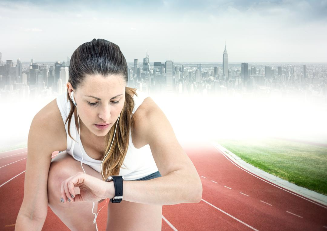 Digital composite of Female runner with headphones on track against blurry skyline