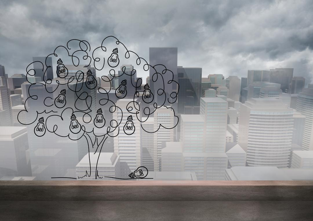 Conceptual image of light bulb tree against digitally generated city background