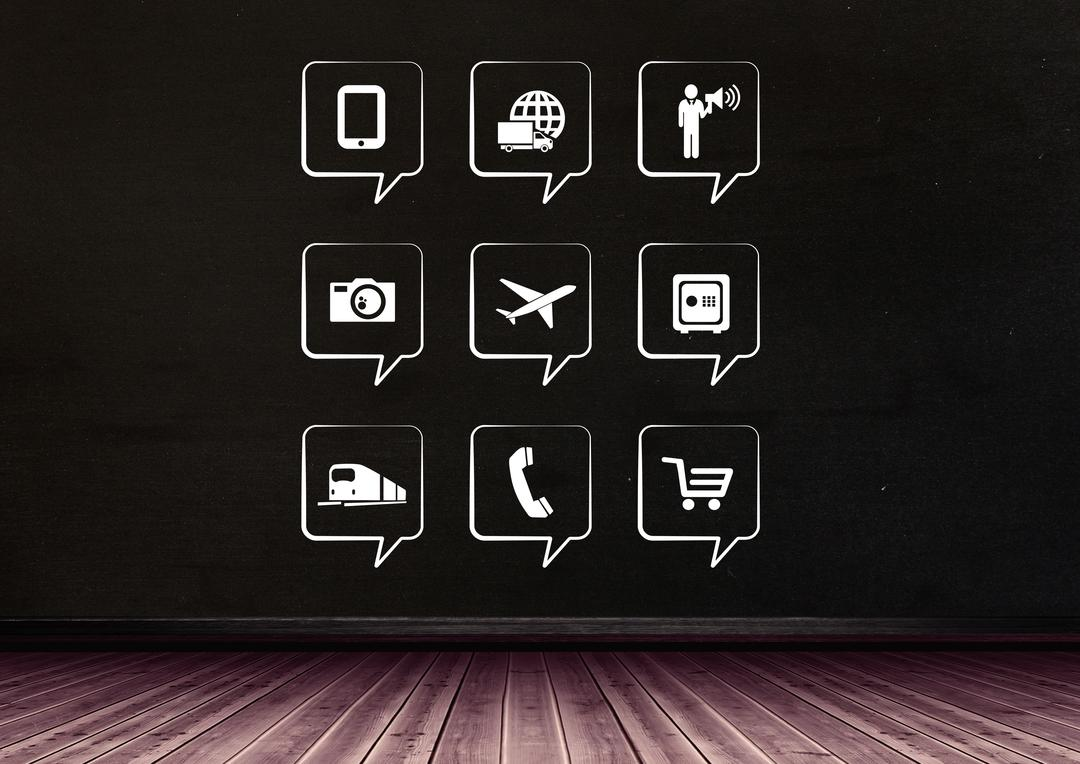 Digital composition of mobile apps icons against black background Free Stock Images from PikWizard