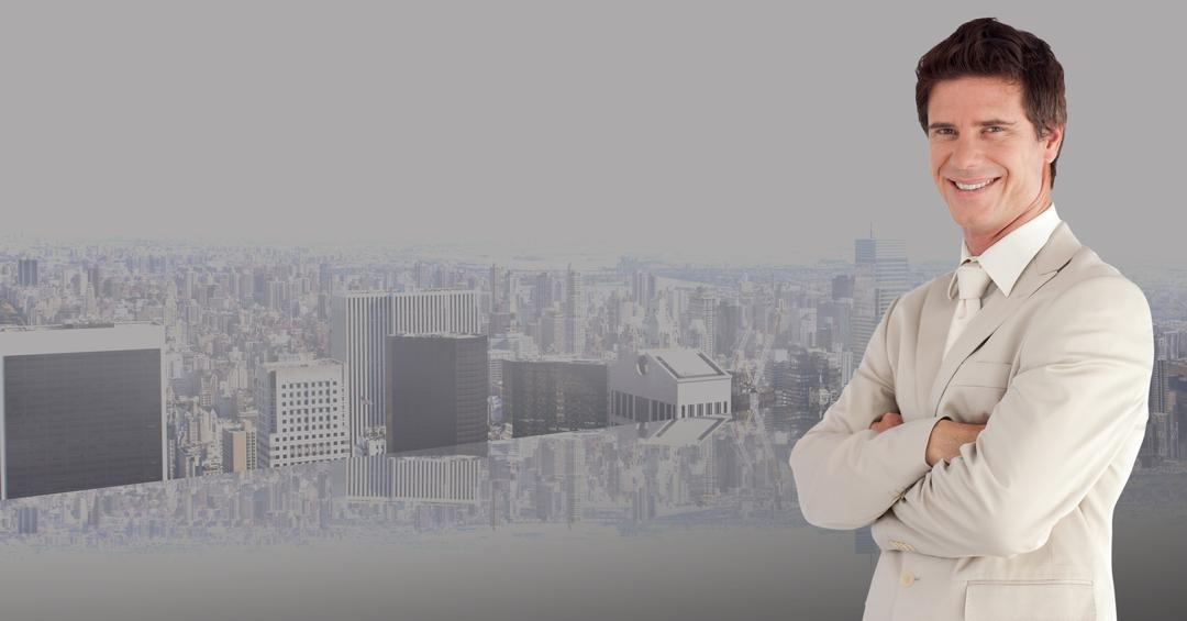 Digital composite image of businessman standing with arms crossed against cityscape