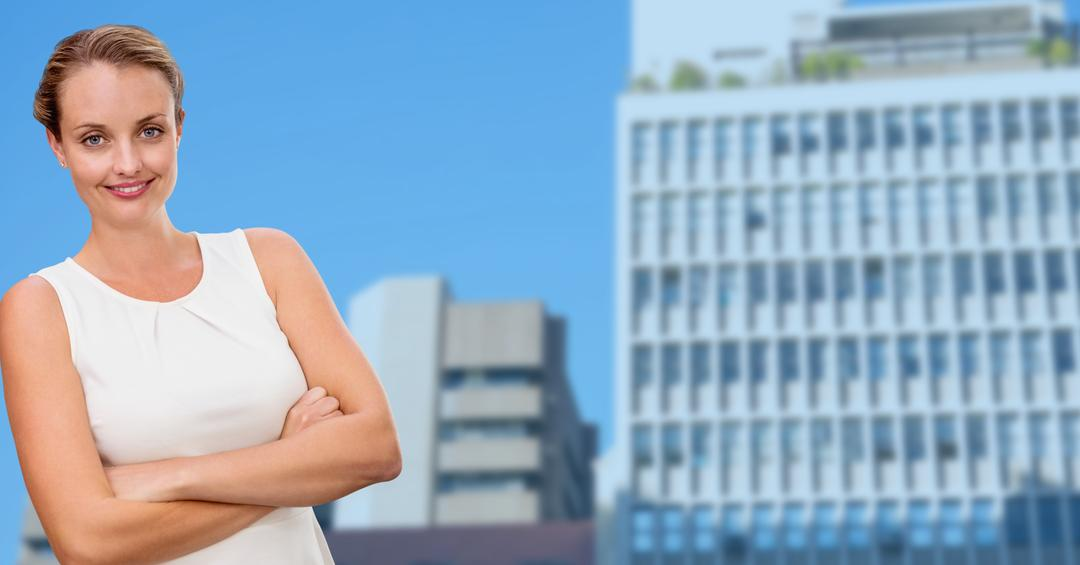 Digital composition of businesswoman standing with arms crossed against modern office buildings in background Free Stock Images from PikWizard
