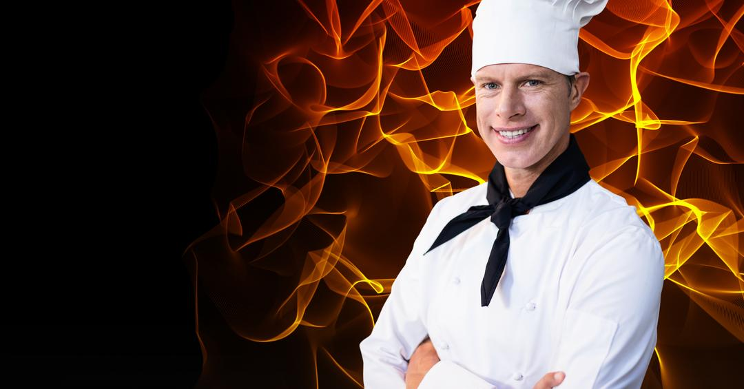Male chef standing with arms crossed against digitally generated background