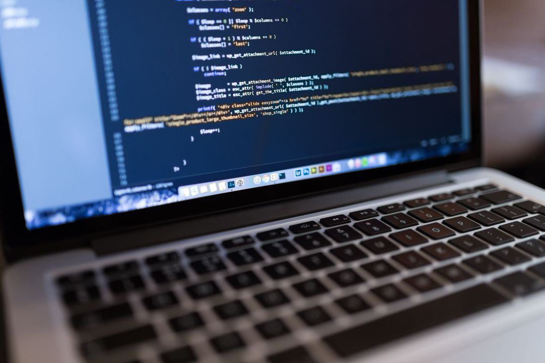 Close up image of website code on a computer screen