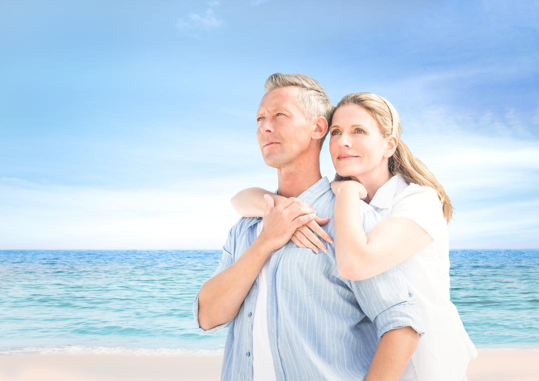 Digital composite of Couple looking to the horizon in the beach Free Stock Images from PikWizard