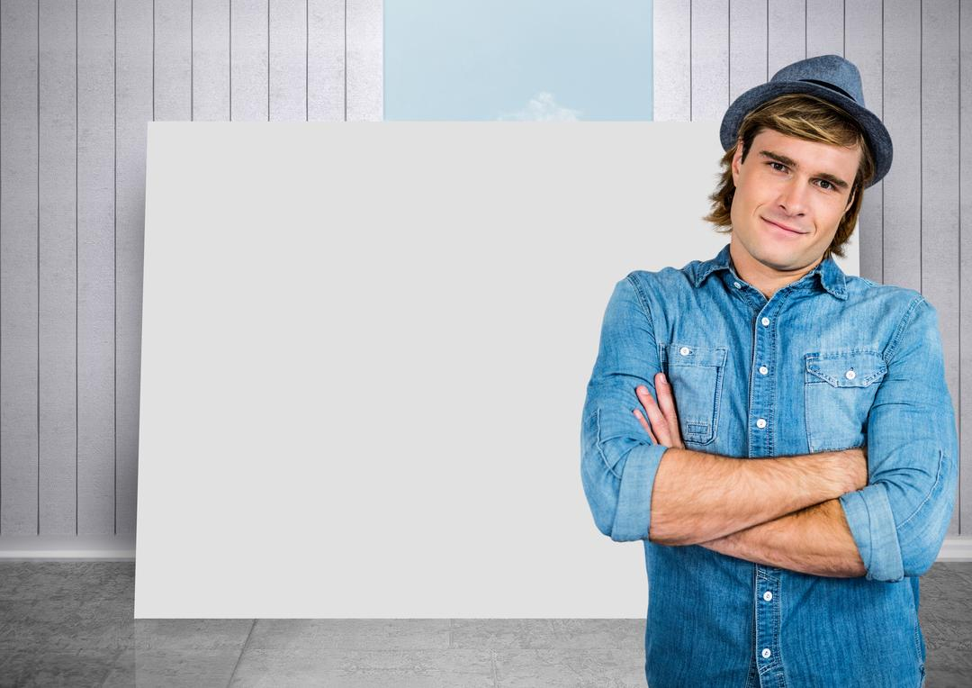 Digital composite of Man against blank card with room and sky background
