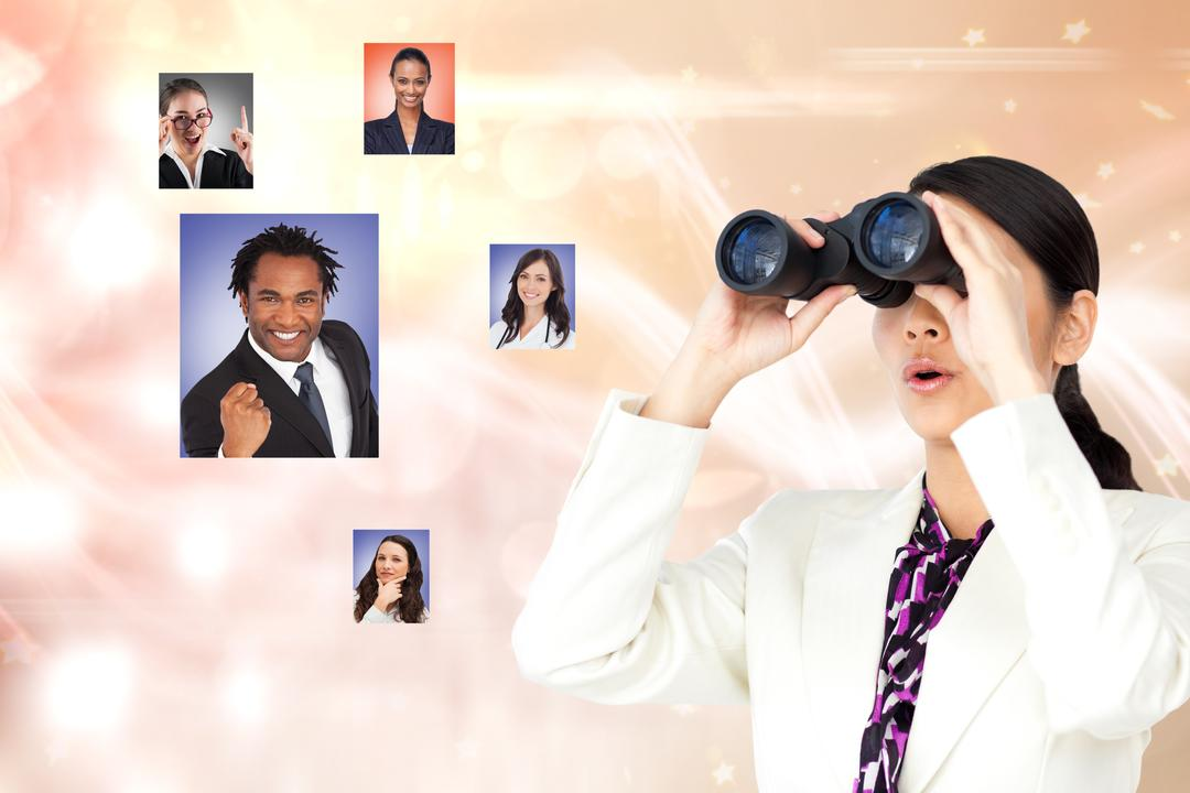 Digital composite of Female HR searching for candidates through binoculars