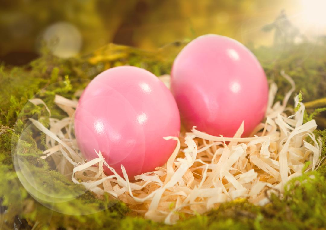 Digital composite of Pink Easter eggs