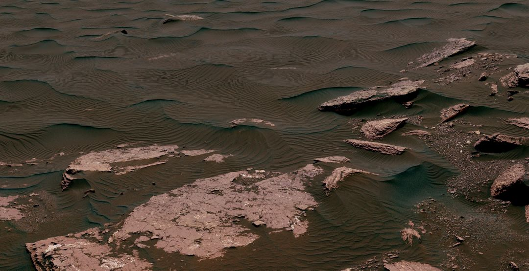 "This view from the Mast Camera (Mastcam) on NASA's Curiosity Mars rover shows two scales of ripples, plus other textures, in an area where the mission examined a linear-shaped dune in the Bagnold dune field on lower Mount Sharp.  The scene is an excerpt from a 360-degree panorama acquired on March 24 and March 25, 2017, (PST) during the 1,647th Martian day, or sol, of Curiosity's work on Mars, at a location called ""Ogunquit Beach.""  Crests of the longer ripples visible in the dark sand of the dune are several feet (a few meters) apart. This medium-scale feature in active sand dunes on Mars was one of Curiosity's findings at the crescent-shaped dunes that the rover examined in late 2015 and early 2016. Ripples that scale are not seen on Earth's sand dunes. Overlaid on those ripples are much smaller ripples, with crests about ten times closer together.  Textures of the local bedrock in the foreground -- part of the Murray formation that originated as lakebed sediments -- and of gravel-covered ground (at right) are also visible. The image has been white-balanced so that the colors of the colors of the rock and sand materials resemble how they would appear under daytime lighting conditions on Earth.   https://photojournal.jpl.nasa.gov/catalog/PIA11242"