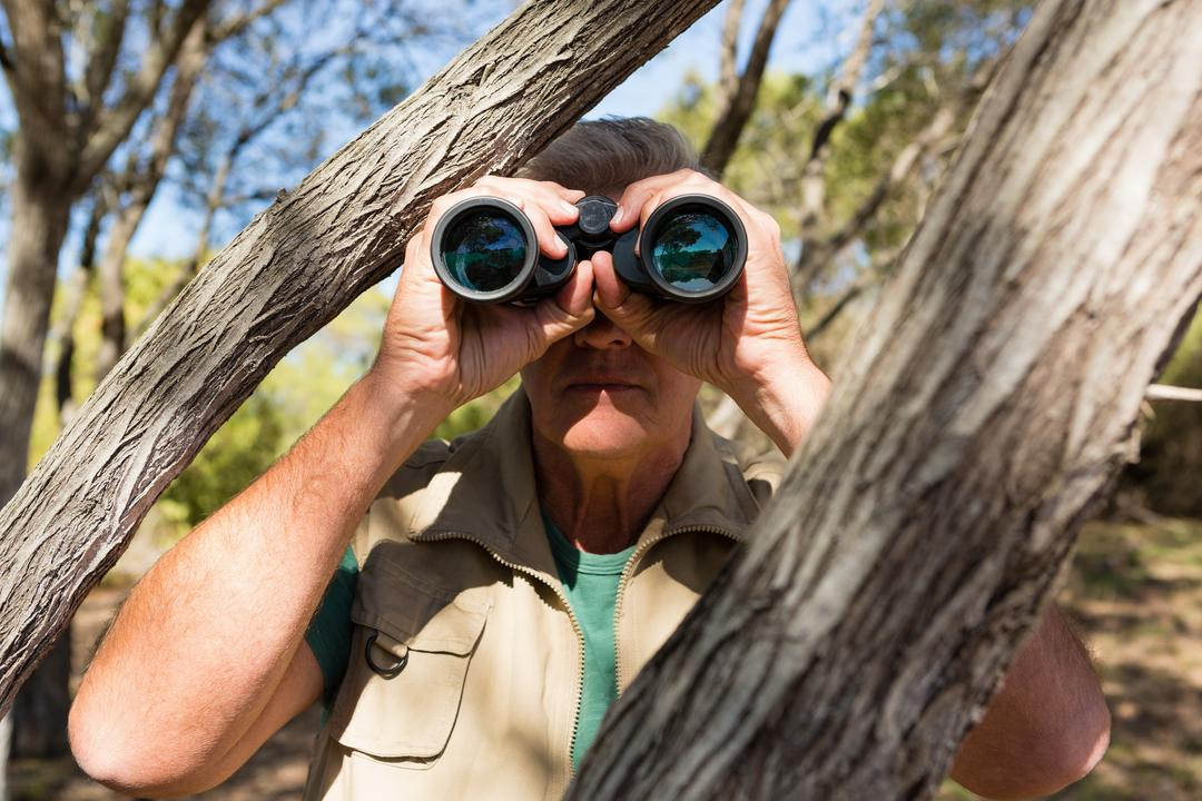 Mature man by tree looking through binocular at forest