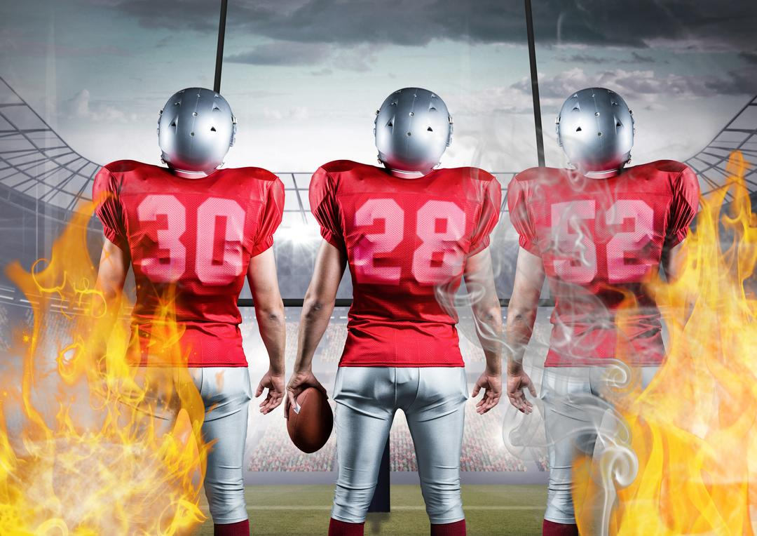 Digital composition of american football players standing with ball against flames and stadium in background