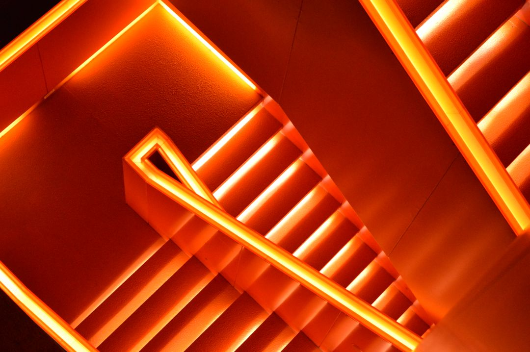 Abstart orange stair pattern