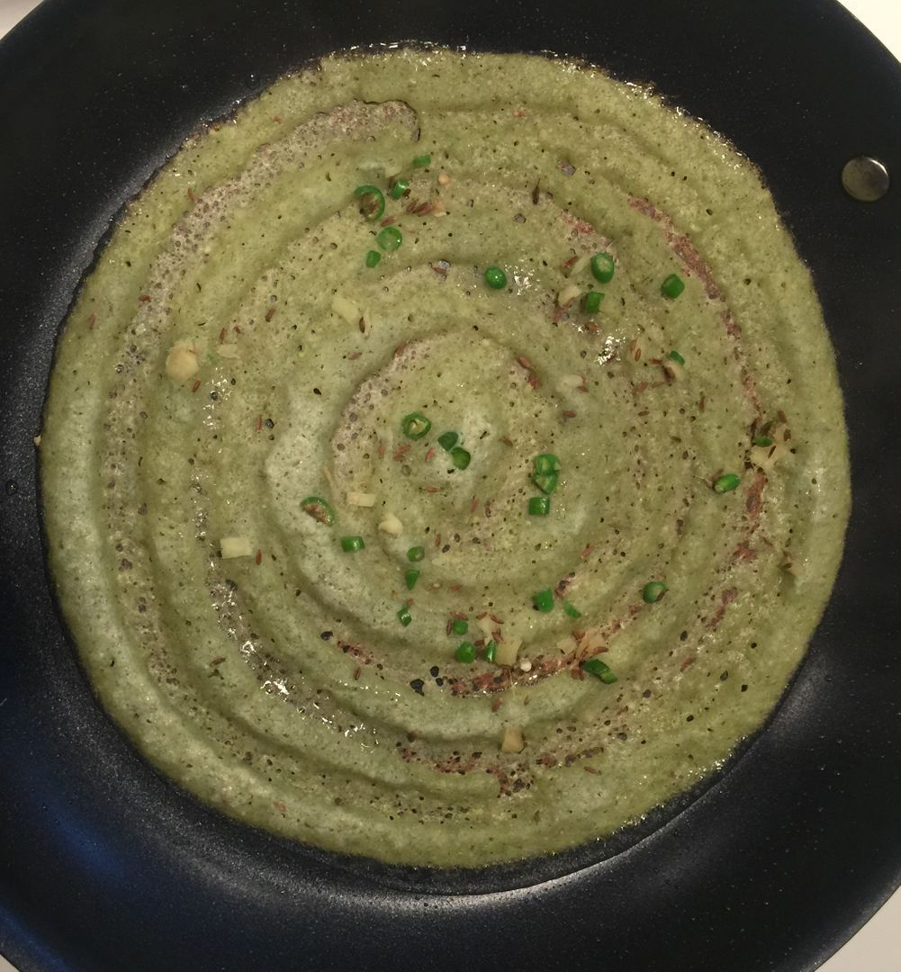 Pesarattu green gram creep on the pan