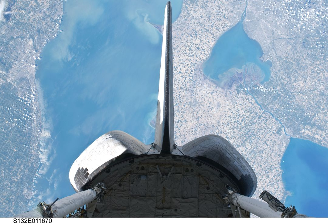 OMS Pods and Vertical Stabilizer on Space Shuttle Atlantis during STS-132