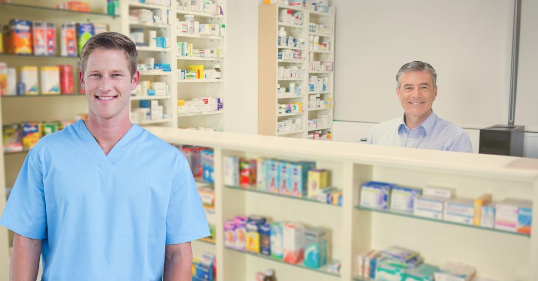 Digital composite of Men smiling at pharmacy
