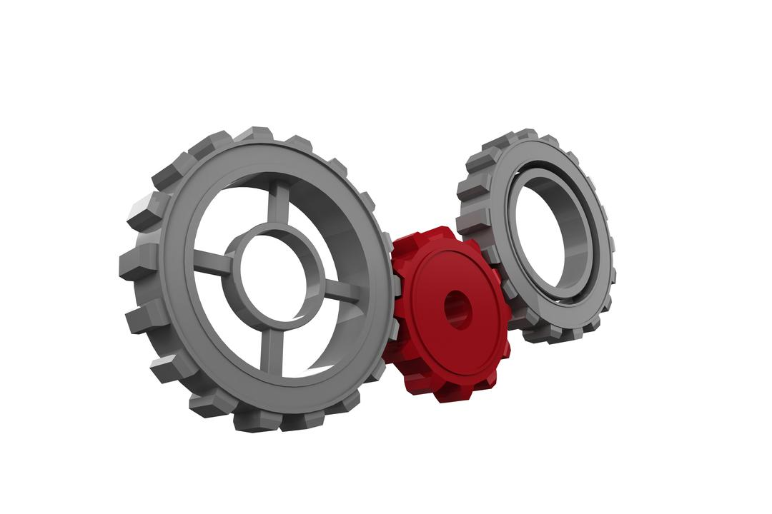 Digital composite of gear wheels on white background
