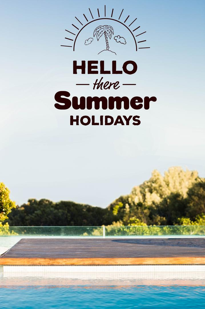 Digital composite of hello there summer holidays with picture of swimming pool Free Stock Images from PikWizard
