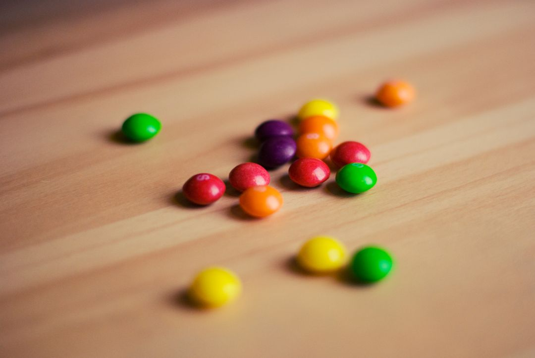 Colourful skittles candy