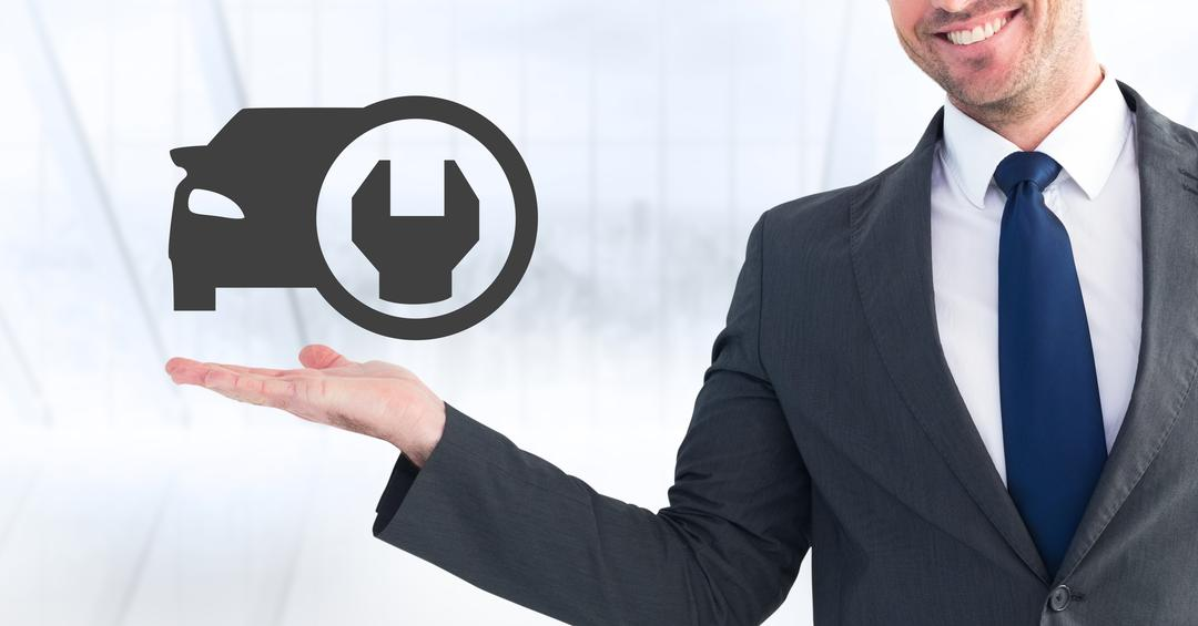 Digital composition of businessman pretending to touch car setting icon against white background Free Stock Images from PikWizard