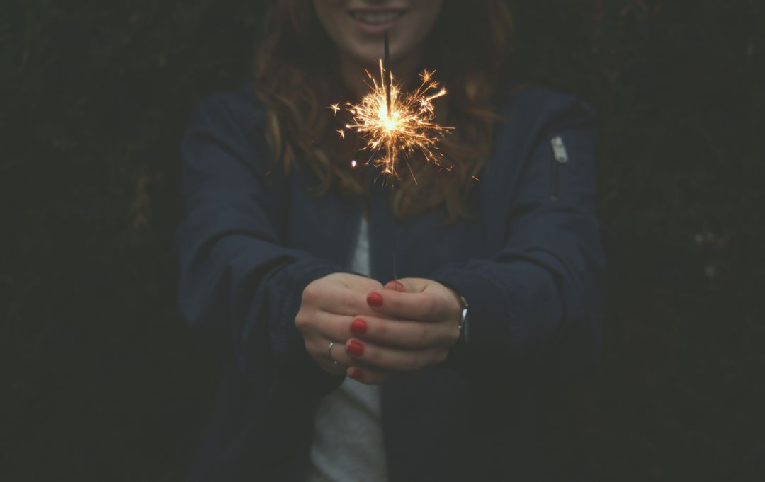 Sparkler Firewrok in Womans Hands