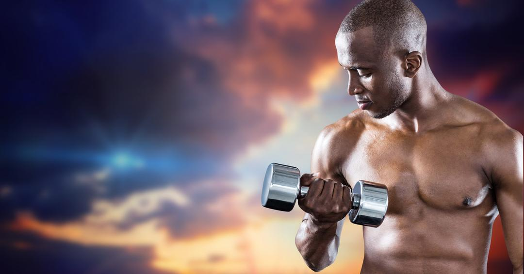 Muscular man working out with dumb bells against cloudy sky background Free Stock Images from PikWizard