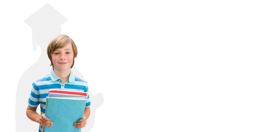 Digital composite of Digitally generated image of smiling boy holding books with shadow of graduate student in background