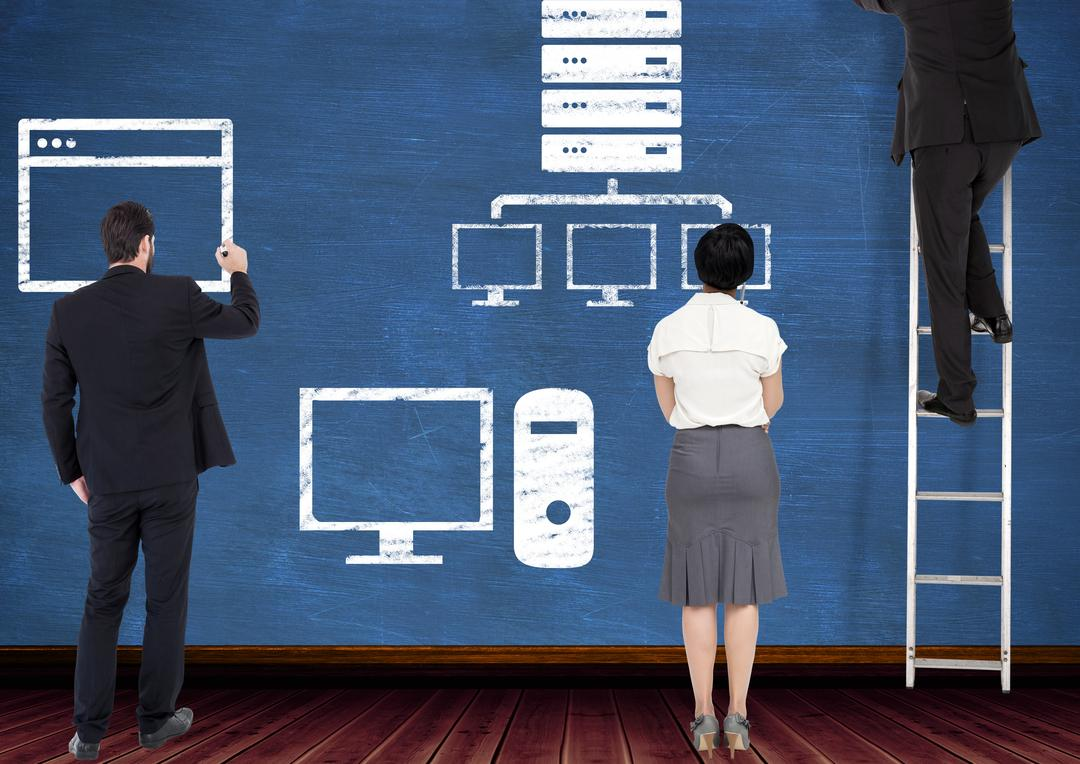 Business workers planning website layout