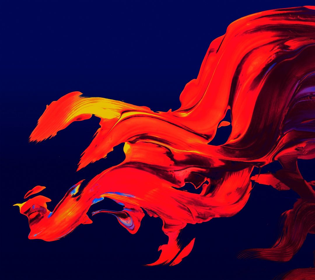 Abstract flames painting red