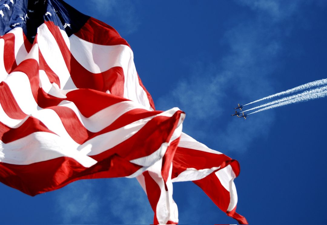 Aircraft american flag blue angles blue sky