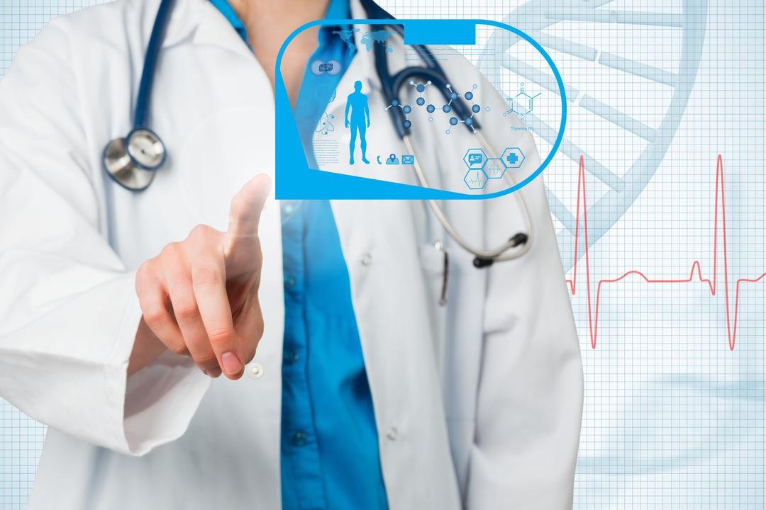 Composite of docter pointing at healthcare graphics Free Stock Images from PikWizard