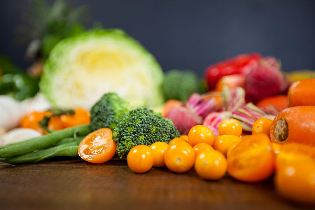 Close-up of various fresh vegetables on table - diet concept Free Stock Images from PikWizard