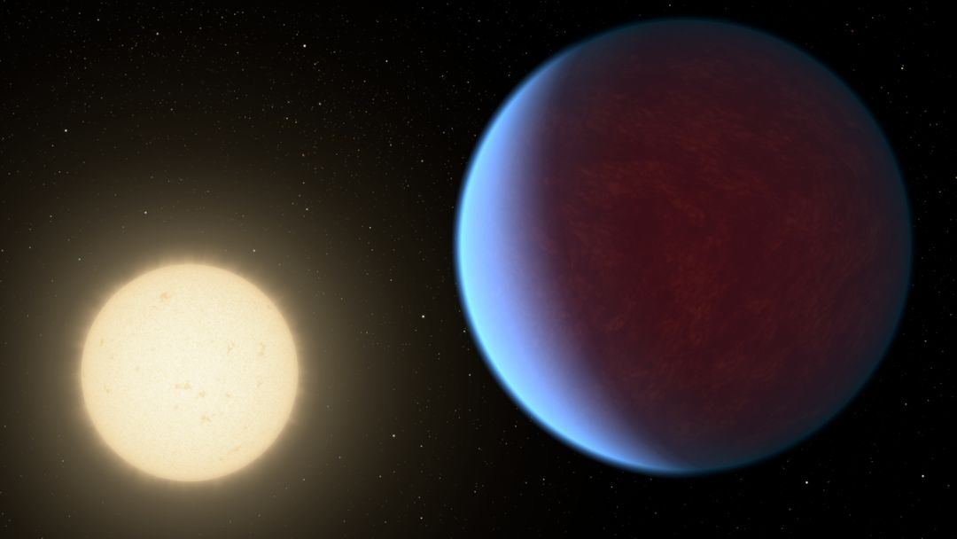 The super-Earth exoplanet 55 Cancri e, depicted with its star in this artist's concept, likely has an atmosphere thicker than Earth's, with ingredients that could be similar to those of Earth's atmosphere, according to a 2017 study using data from NASA's Spitzer Space Telescope. Scientists say the planet may be entirely covered in lava. The planet is so close to its star that one face of the planet consistently faces the star, resulting in a dayside and a nightside.   https://photojournal.jpl.nasa.gov/catalog/PIA22069