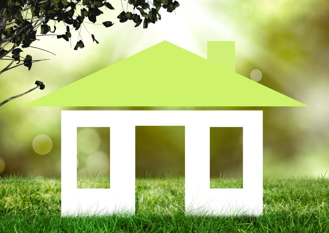 Digital composition of house shape on green grass Free Stock Images from PikWizard