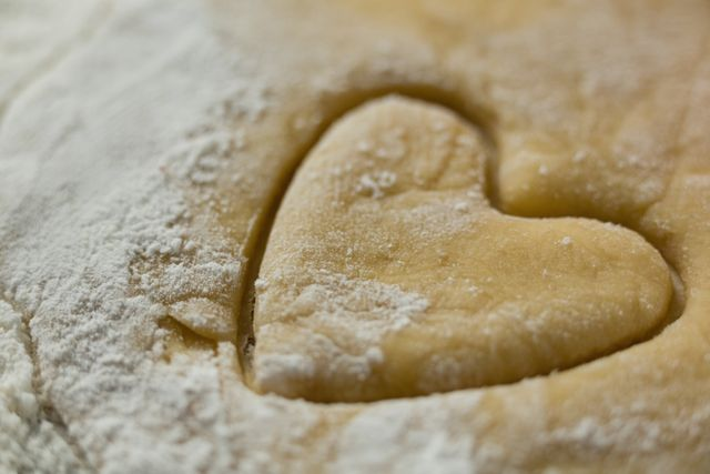 Close up of heart shape on dough with flour