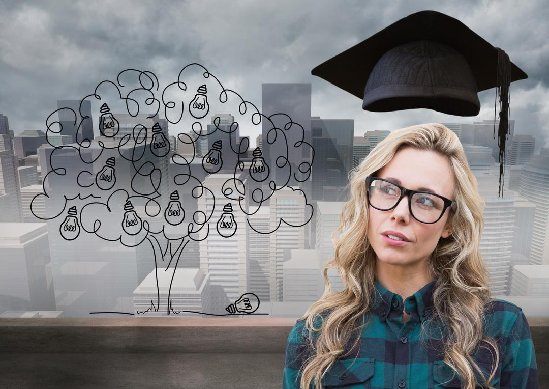 Digital composition of thoughtful woman with graduation cap against cityscape in background