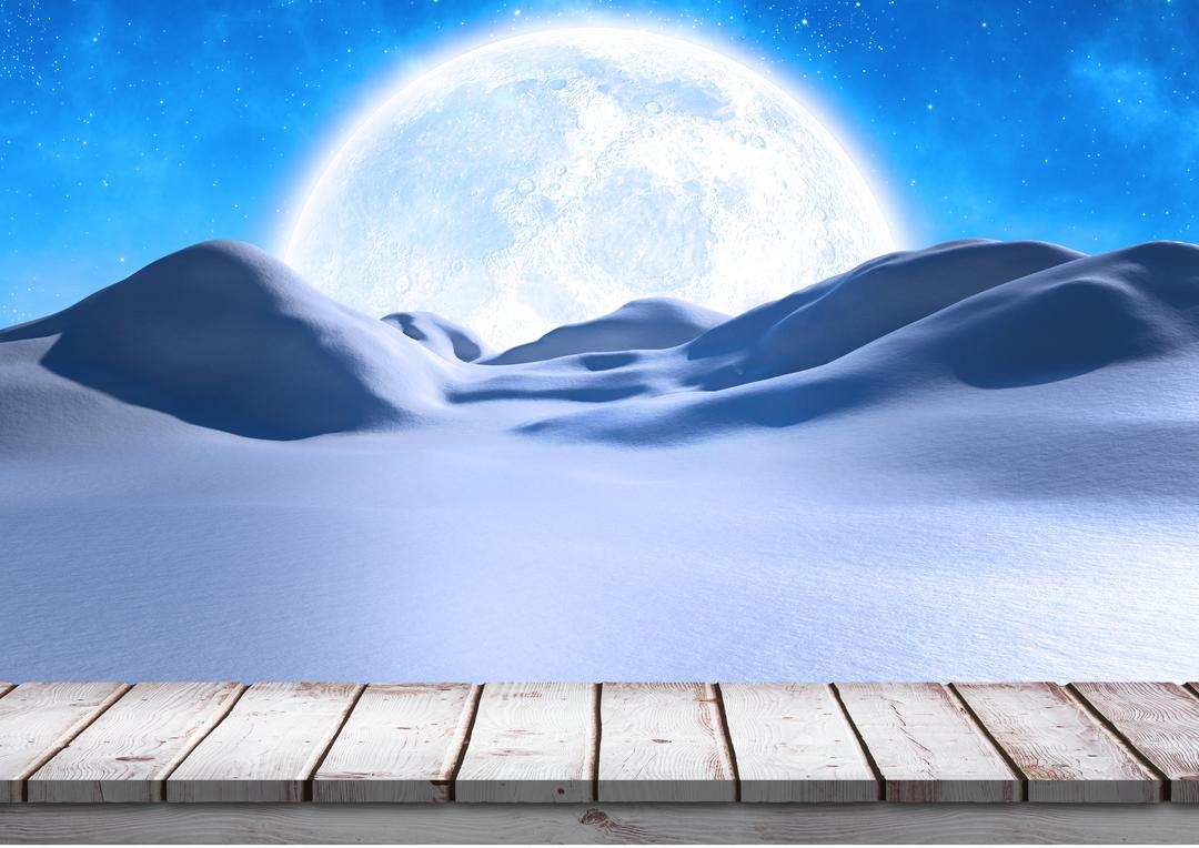 Digital composite image of empty wooden plank at night during winter