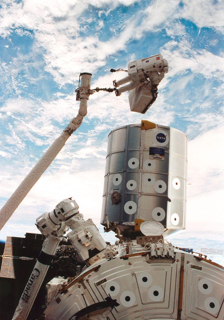 This is a Space Shuttle STS-100 mission onboard photograph. Astronaut Scott Parazynski totes a Direct Current Switching Unit while anchored on the end of the Canadian-built Remote Manipulator System (RMS) robotic arm. The RMS is in the process of moving Parazynski to the exterior of the Destiny laboratory (right foreground), where he will secure the spare unit, a critical part of the station's electrical system, to the stowage platform in case future crews will need it. Also in the photograph are the Italian-built Raffaello multipurpose Logistics Module (center) and the new Canadarm2 (lower right) or Space Station Remote Manipulator System.