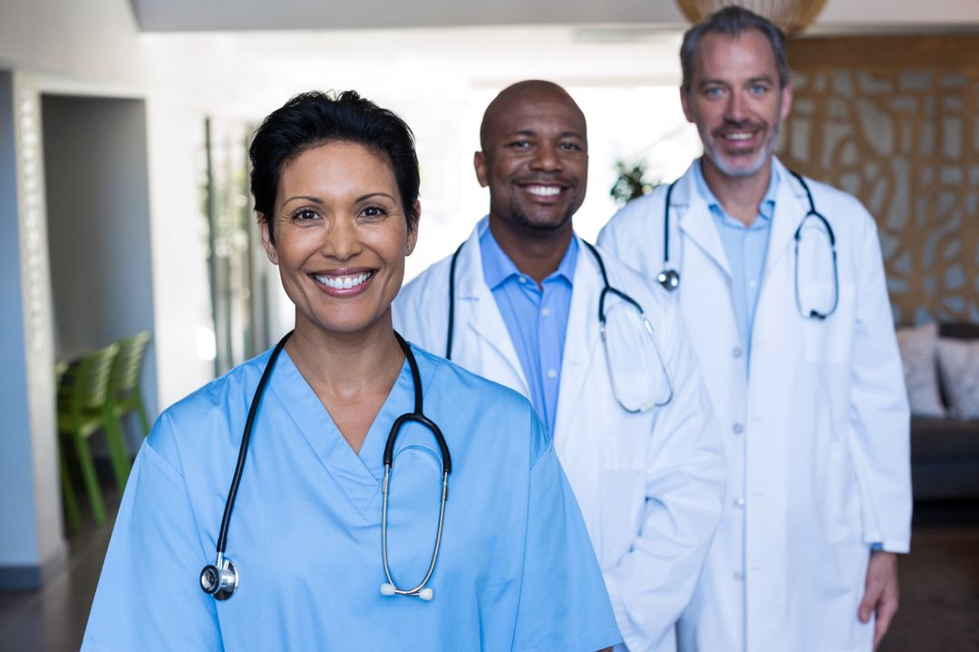 Portrait of doctors and nurse standing of hospital Free Stock Images from PikWizard