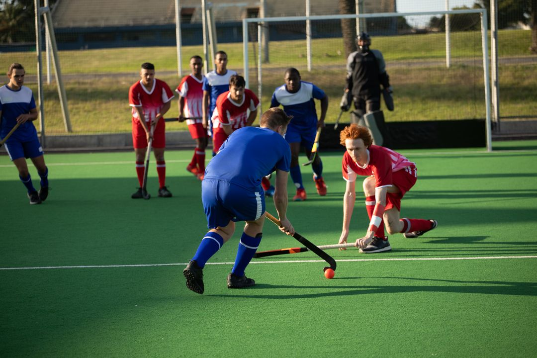 Two multi-ethnic teams of teenage male field hockey players, one player preparing to hit a ball on the pitch during a hockey game. Sport game competition. Free Stock Images from PikWizard