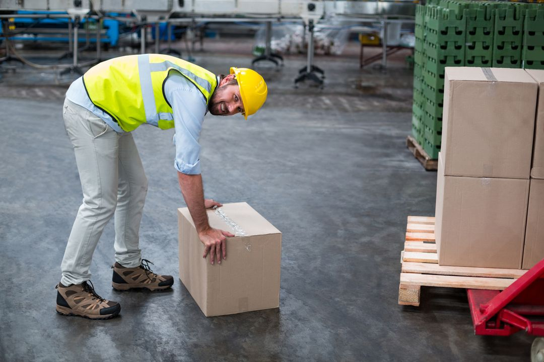 Portrait of factory worker picking up cardboard boxes in factory Free Stock Images from PikWizard