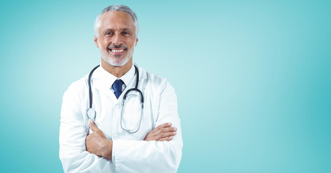 Digital composition of a confident male doctor standing against turquoise background