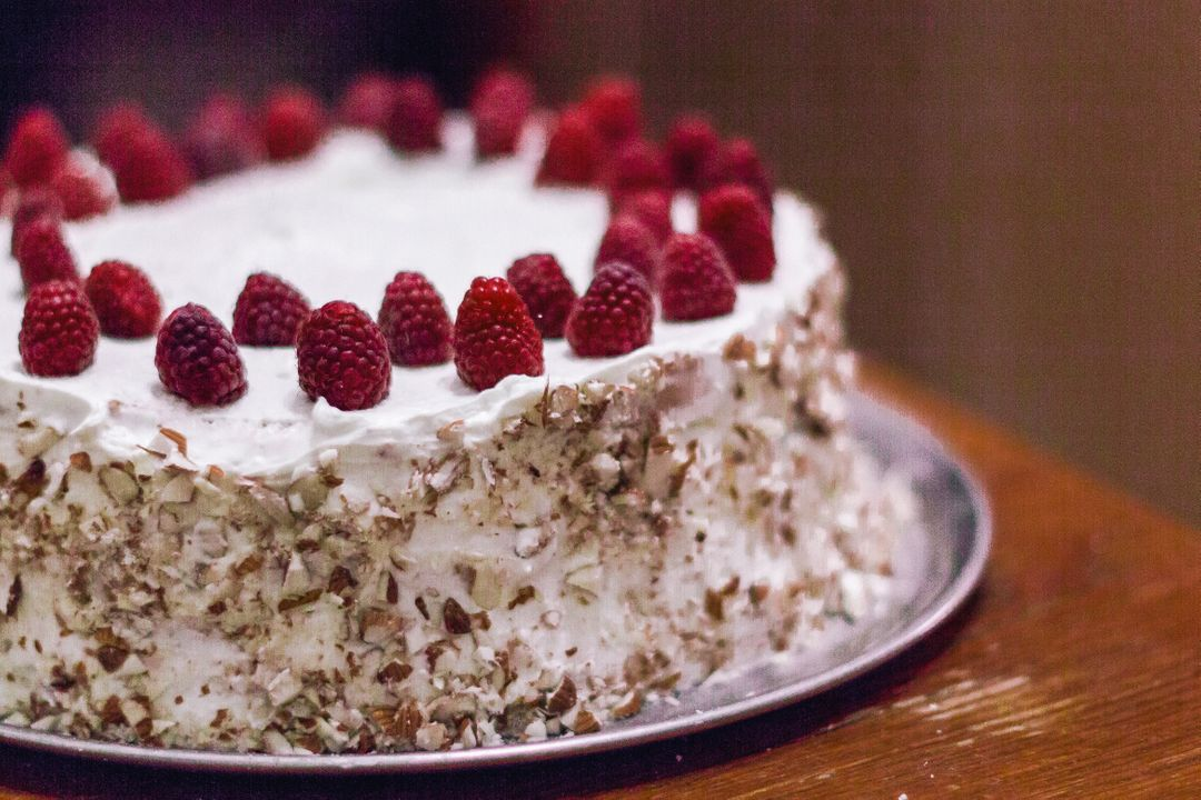 Food nuts raspberries cake