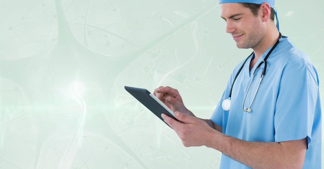 Digital composite of Happy doctor working with his tablet