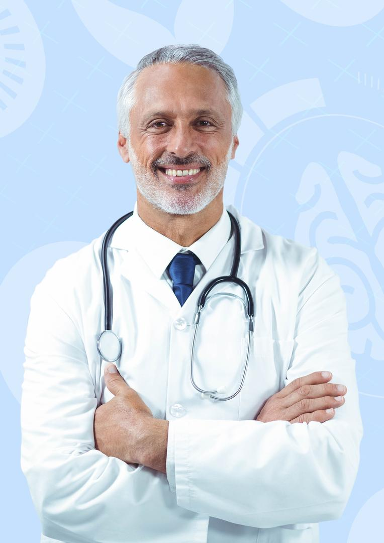 Digital composite image of male doctor standing with arms crossed against medical background