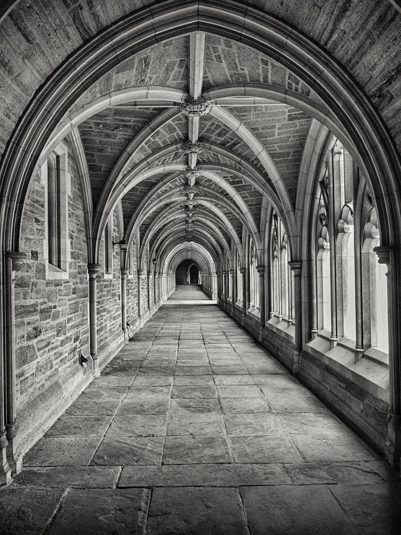 Gray Scale Photography of Hallway